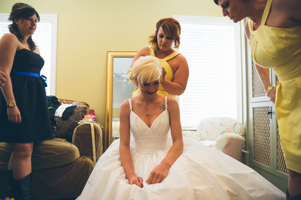 A few final touches for bride Brandy before walking down the aisle