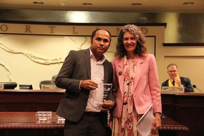 Som Nath Subedi, Parks for New Portlanders manager, accepting a 2015 Spirit of Portland award with Commissioner Amanda Fritz.  To find out more about how you can get involved, contact Som Nath Subedi at som.subedi@portlandoregon.gov or visit the  program's website .