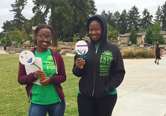 """""""I like coming back to  Kʰunamokwst Park. It's my third summer here. I fell in love with the kids and the community here."""" Umu Tullah (R) is in her third year working for @portlandparks Lunch + Play program. Ania Lambert (L) added """"I love the kids, the park, everything."""" Free lunches will be offered daily through August 22 at Kʰunamokwst Park. // 57% of young Portlanders qualify for free or reduced-price lunch during the school year. Without school lunches, summer becomes the time when nearly 50,000 Portland children face hunger daily. The @portlandparks Free Lunch + Play program supports families by offering nutritious meals and recreational activities during the summer recess. We are proud to be a part of the program's long list of supporters."""
