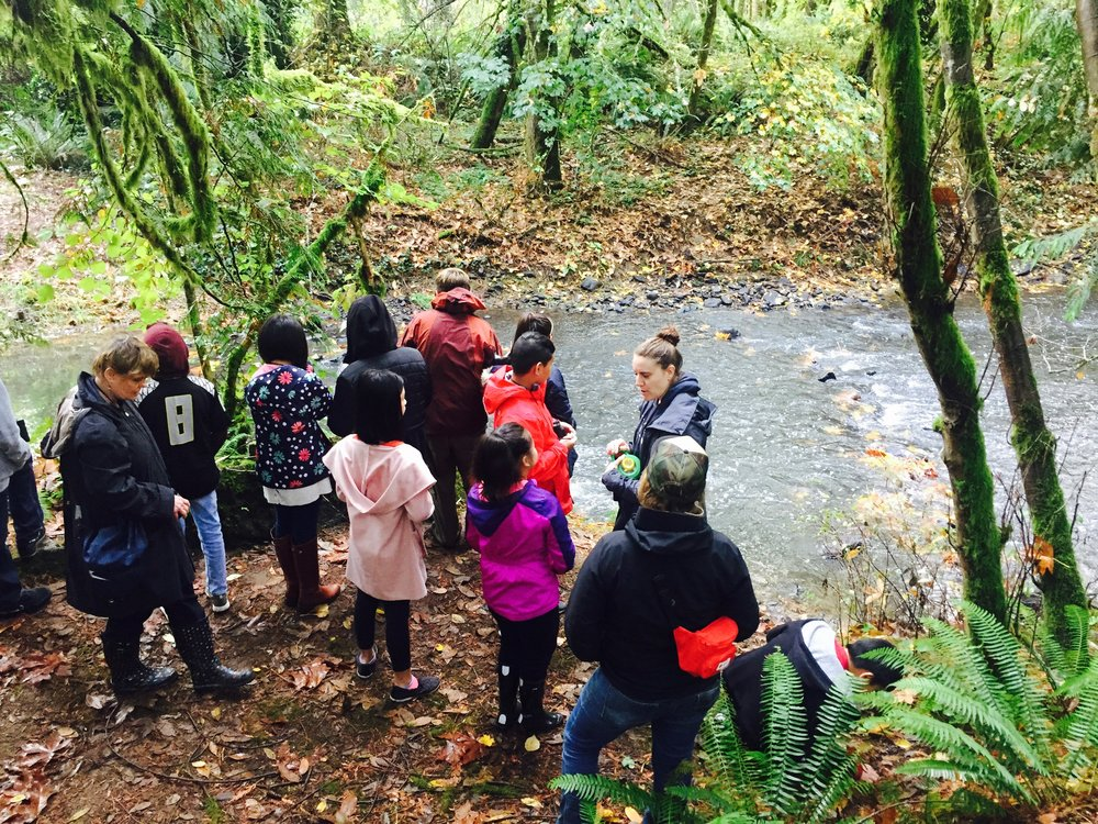 Students participating in an ECO program at Kingsley D. Bundy Park in SE Portland.