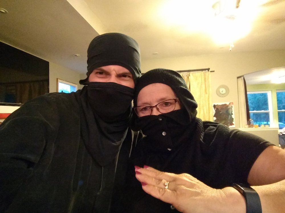 Me and my ninja-Mom, Denise @ Silas's party.