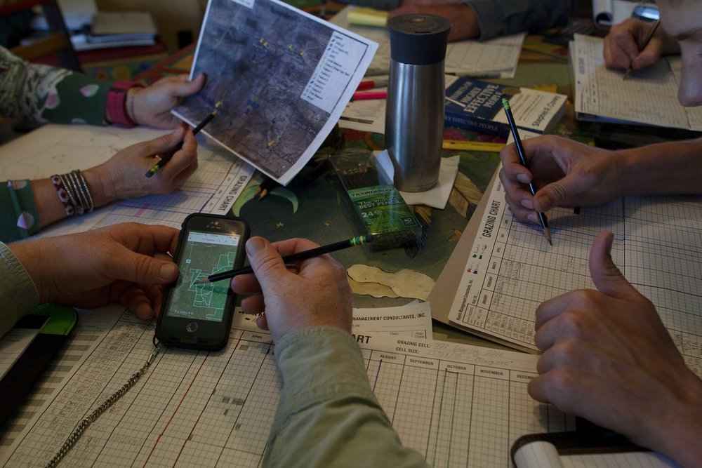 Regenerative grazing requires a large amount of time and planning. Here, the team reviews satellite imagery corresponding with Pasture Maps in order to map out a proper grazing plan for the herd.