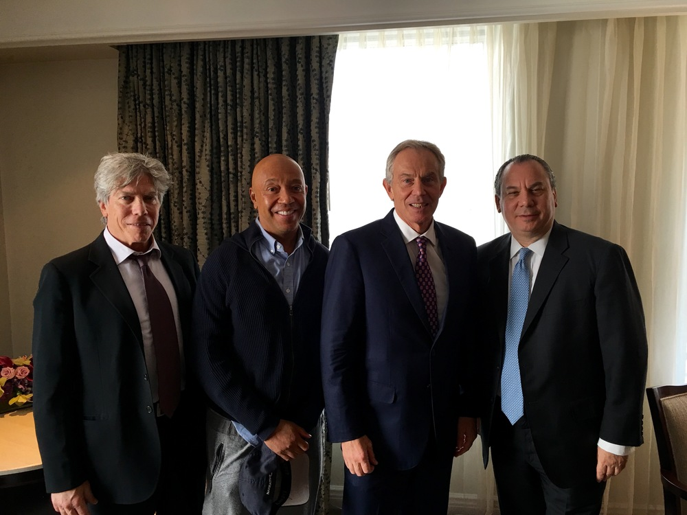 L-R: FFEU Secretary Ken Sunshine, FFEU Chairman Russell Simmons, Former PM of the UK Tony Blair and FFEU President Rabbi Marc Schneier.