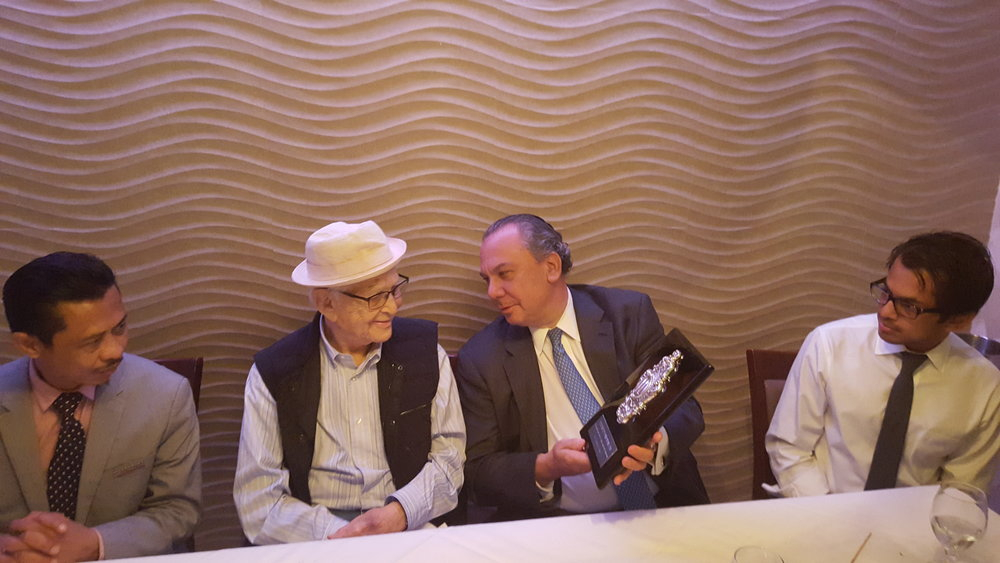 L-R: Imam Shamsi Ali, Norman Lear, Rabbi Marc Schneier and Shafqat Islam.