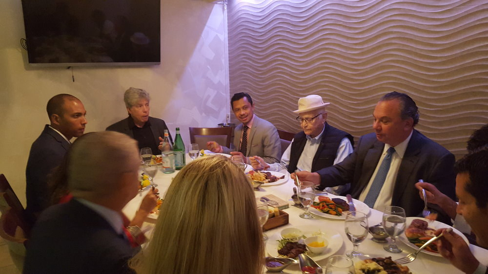 L-R: Chris Sacarabany, Ken Sunshine, Imam Shamsi Ali, Norman Lear and Rabbi Marc Schneier.
