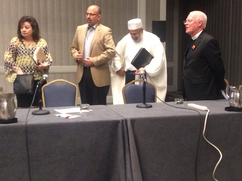 Participants in the panel chaired by FFEU's Walter Ruby. (L-R): Jeralda Hattar, Rabbi Mark Miller, Imam Mohammed Mardini and Pastor Jack Eggleston.