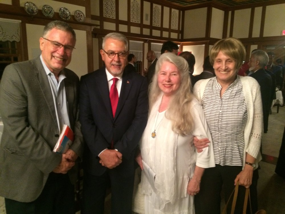 (L-R): Walter Ruby, Turkish Ambassador Serder Kilic, Andra Baylus and Andrea Barron of Greater Washington Muslim-Jewish Forum.