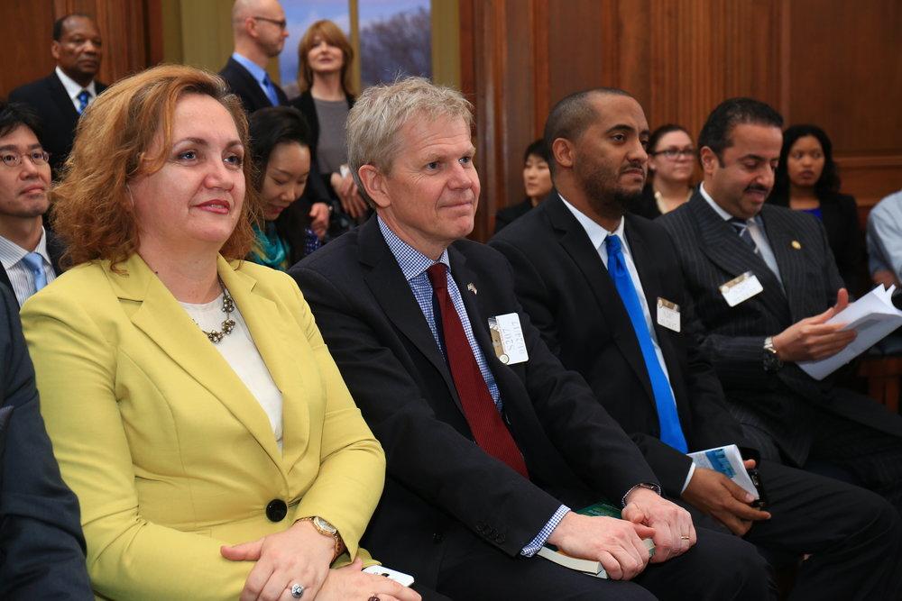 On the left, H.E. Floreta Faber, Ambassador of Albania, H.E. Bjorn Lyrvall, Ambassador of Sweden and on the right, H.E. Shaikh Abdulla Al Khalifa, Ambassador of the Kingdom of Bahrain.