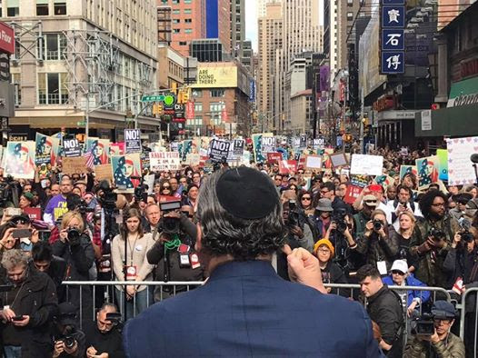"FFEU President Rabbi Marc Schneier, co-host of the ""Today, I Am A Muslim Too"" rally, addressing the massive audience."