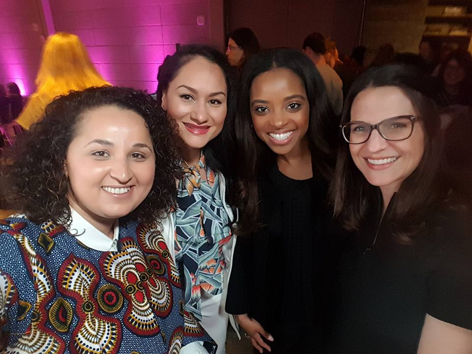 FFEU's European Director Samia Hathroubi with the co-chairs of the Women's March Tamika Mallory and Carmen Perez, and the Rabbi Sharon Brous. at the Women In The World Summit, in L.A, 03/07.