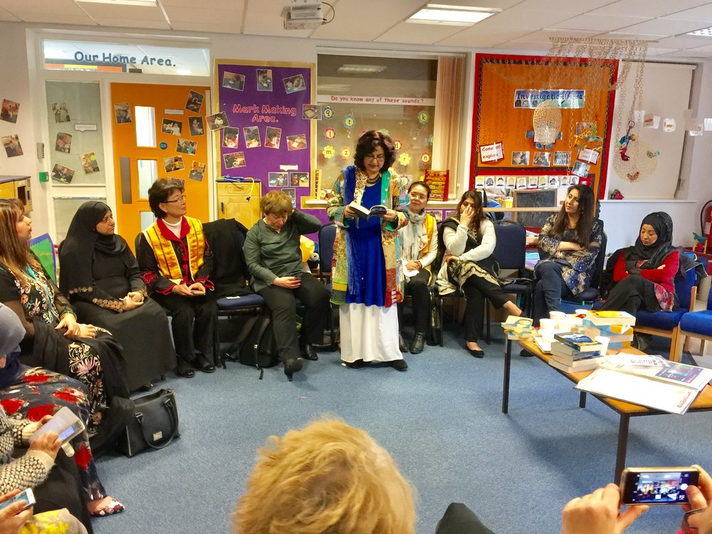 """Really proud & delighted at the success of our,'Twinning' event in Oldham with its strong promotion of messages of peace, unity and tolerance #SpreadHummusNotHate and celebration of women's lives. Women thoroughly enjoyed themselves- with heaps of smiles.The event was indeed a delightful example of community cohesion. Wonderful to visit Greenhill Academy again. I used to teach English classes to women several years ago in this school. Wonderful work by host team!"" Qaisra Shahraz."