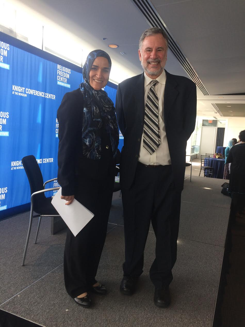 FFEU's Muslim-Jewish Program Director Walter Ruby with American/Egyptian scholar and Director of Research at the Institute for Social Policy and Understanding (ISPU) Dalia Mogahed.