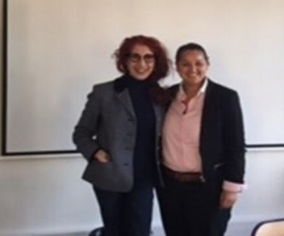 Turkish Director of Sociology Nilufer Gole and FFEU European Director Samia Hathroubi (R).