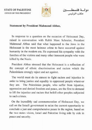 """Palestinian Authority President Mahmoud Abbas recognizes the horrors of the Holocaust, calling it the """"most heinous crime against humanity."""""""