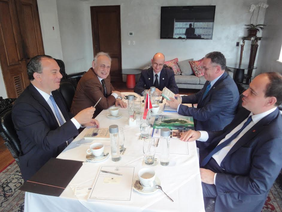 L-R: FFEU President Rabbi Marc Schneier, FFEU Board Member Joseph Koren and President of Albania Bujar Nishani (Far right).