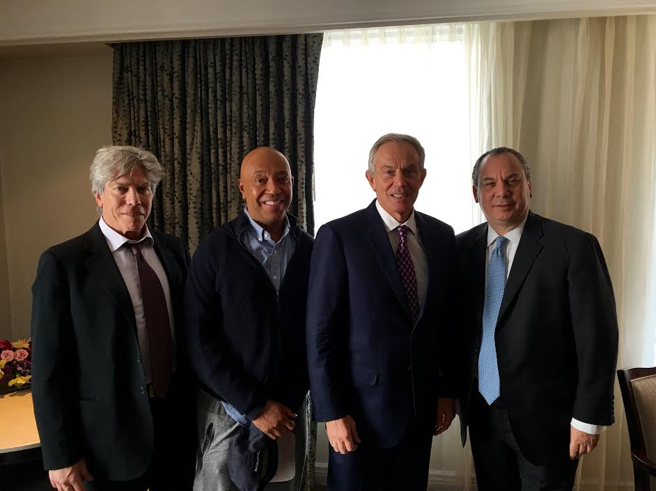 L-R: FFEU Secretary Ken Sunshine, FFEU Chairman Russell Simmons, Former PM of the UK Tony Blair and FFEU President Rabbi Marc Schneier. 2016