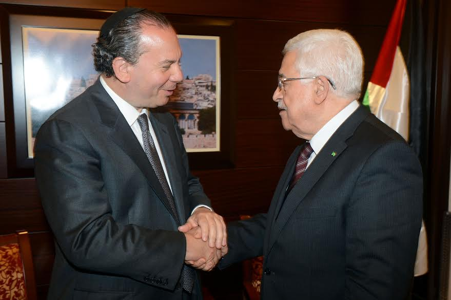 "FFEU President Rabbi Marc Schneier (L) and Palestinian Authority President Mahmoud Abbas (R). 2014 President Mahmoud Abbas recognizes the horrors of the Holocaust, calling it the ""most heinous crime against humanity."""