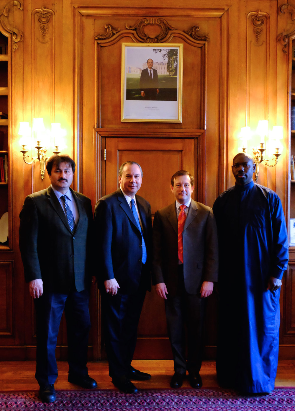 L-R: Imam Ibrahim Sayar, FFEU President Rabbi Marc Schneier, French Consul-General to New York Bertrand Lortholary and Imam Moussa Drammeh. 2015