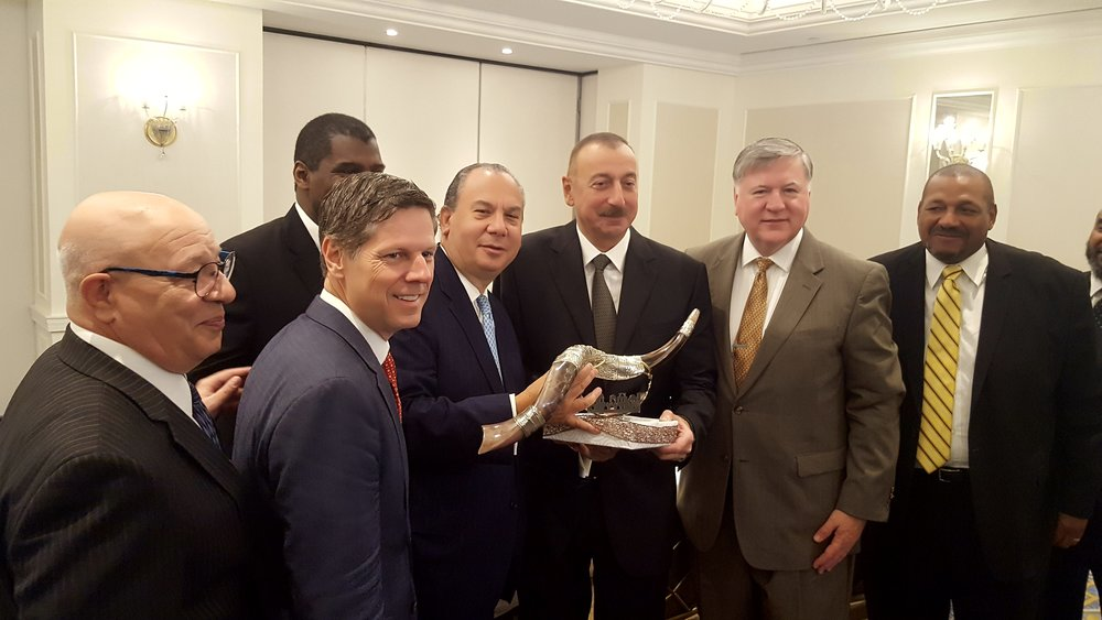 FFEU President Rabbi Marc Schneier presenting a shofar to President of Azerbaijan, His Excellency Ilham Aliyev (middle).