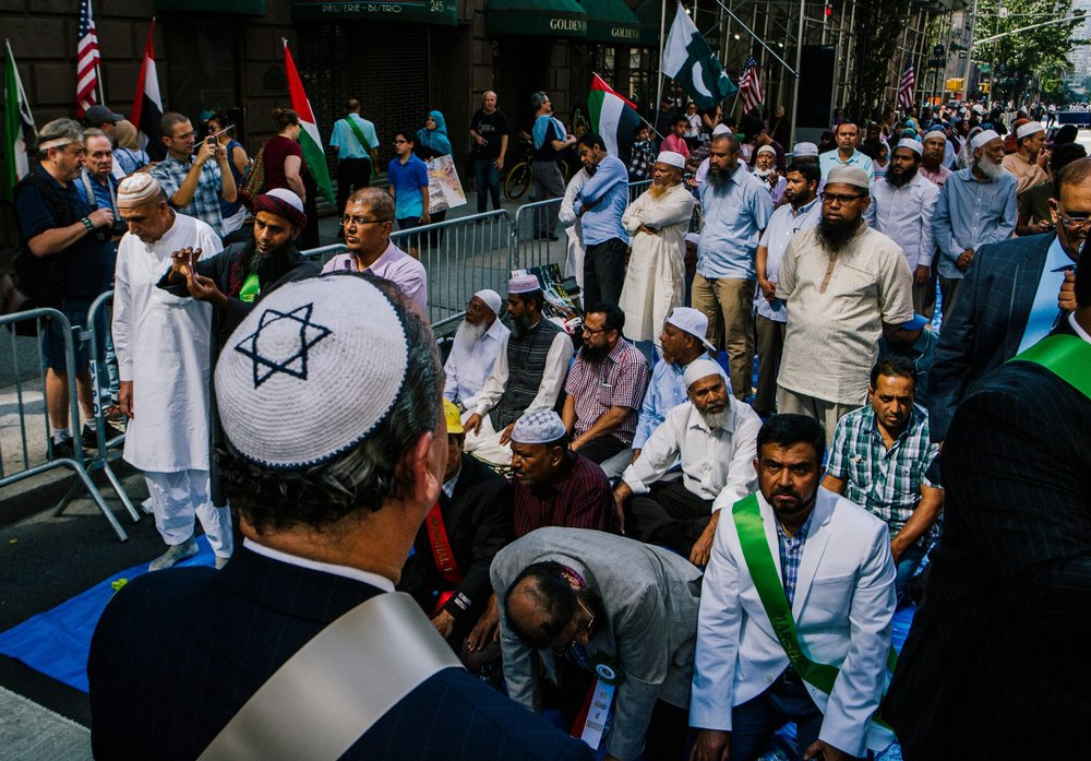 Rabbi Marc Schneier on Sunday, before the start of the Muslim Day Parade in Manhattan. Rabbi Schneier, president of the Foundation for Ethnic Understanding, was the parade's grand marshal. Credit Mark Abramson for The New York Times.