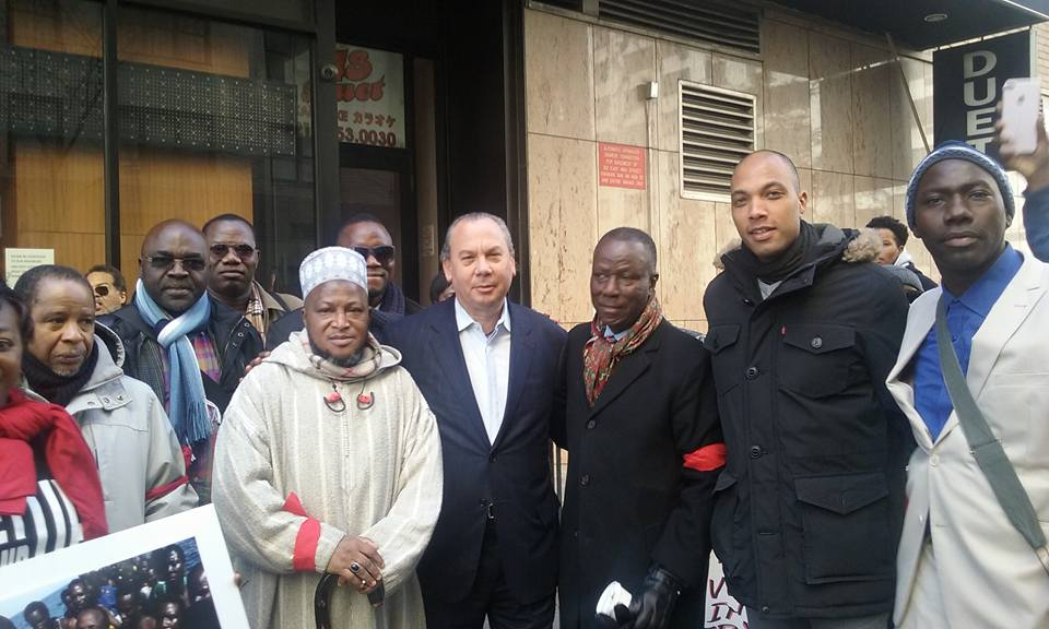 FFEU President Rabbi Marc Schneier, surrounded on his right by Imam Alhadjie Souleymane Konate, and on his left by Sidique Wai  President of United African Congress, FFEU Executive Director Chris Sacarabany and Sheikh Moussa Drammeh.
