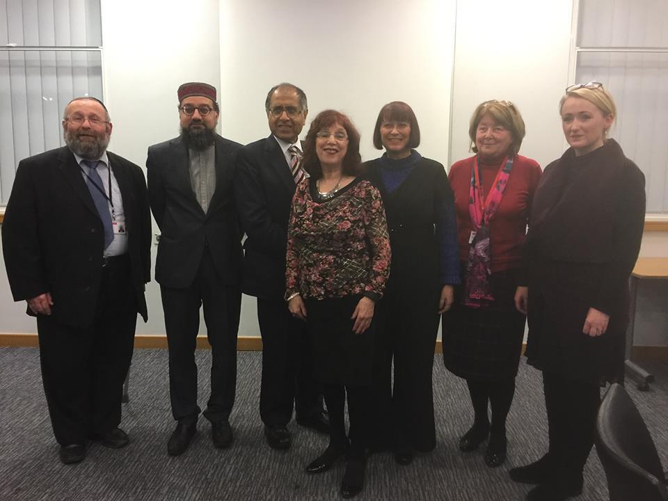 The speakers from L-R: Cllr Rabbi Arnold Saunders,Imam Irfan Chishti MBE,Mohammed Amin MBE,Jackie Harrison,Cllr Heather Fletcher,Cllr Paula Boshell,Rebecca Long Bailey MP.