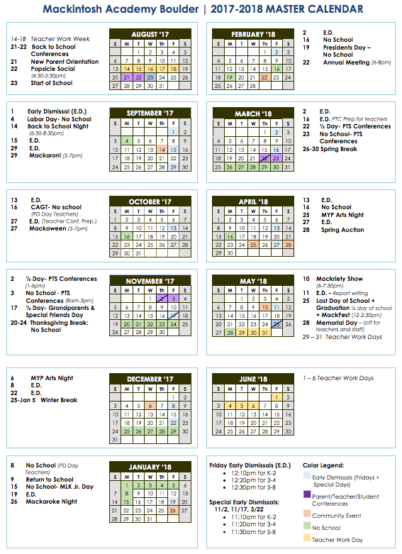 You can also log in to your RenWeb account to view the school calendar. Note: District Code is MA-CO