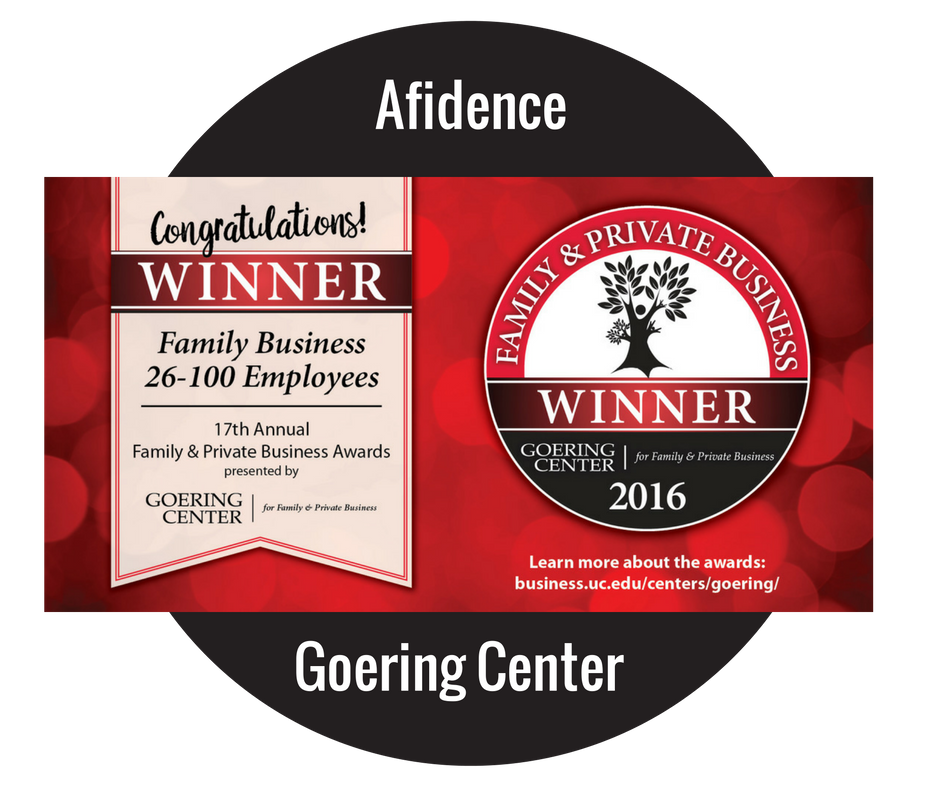 Afidence Winner for the Family & Private Business Awards through Goering Center