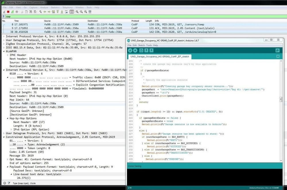 Chariot IPv6 Wireshark + Arduino IDE