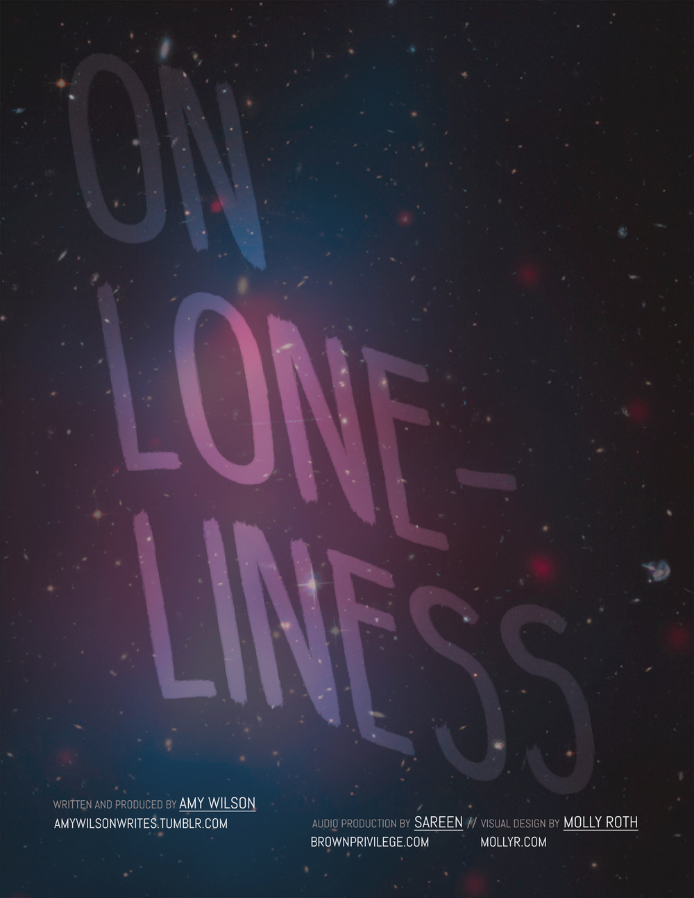 Artwork for the On Loneliness podcast, a project by  Amy Wilson , 2015  Click for   more details  .