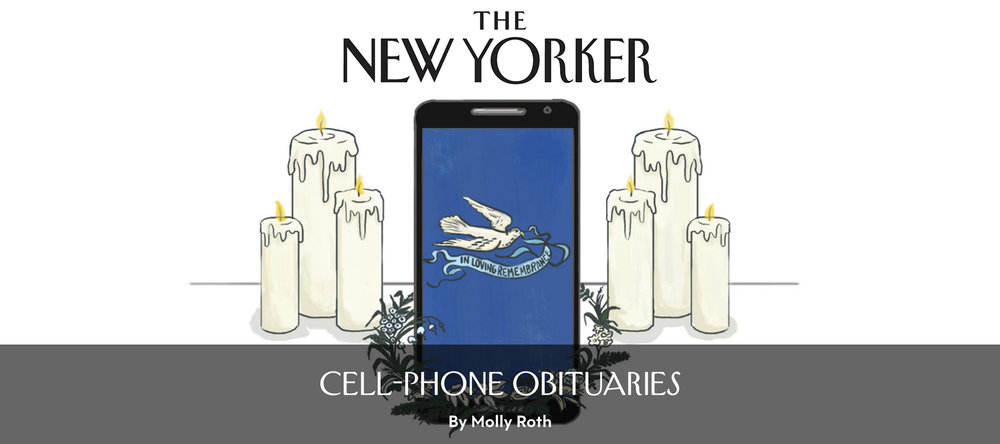 Illustrated cell phone obituaries for the New Yorker Daily Shouts blog