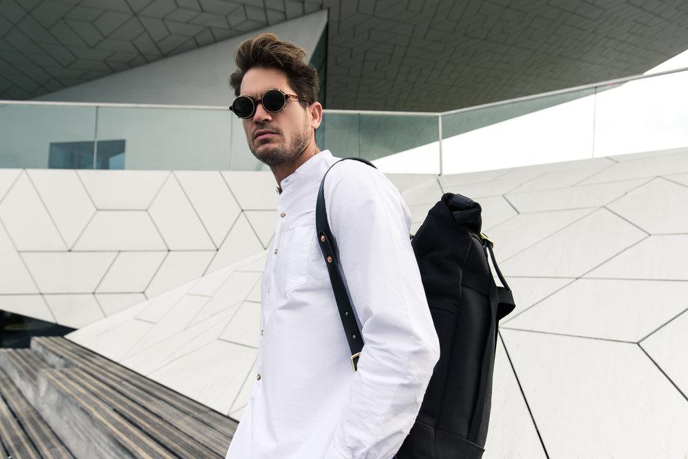Bag:  Dyemond Goods Urban Backpack //Shirt:  Bellerose Gowd 81  //Specs:  Han Kjobenhavn Doc Clip on Amber