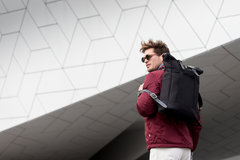 Bag:  Dyemond Goods Urban Backpack // Jacket:  Bellerose LOWF jacket //Pants:  Bellerose Peeg corduroy //Specs:  Han Kjobenhavn Doc Clip on Amber