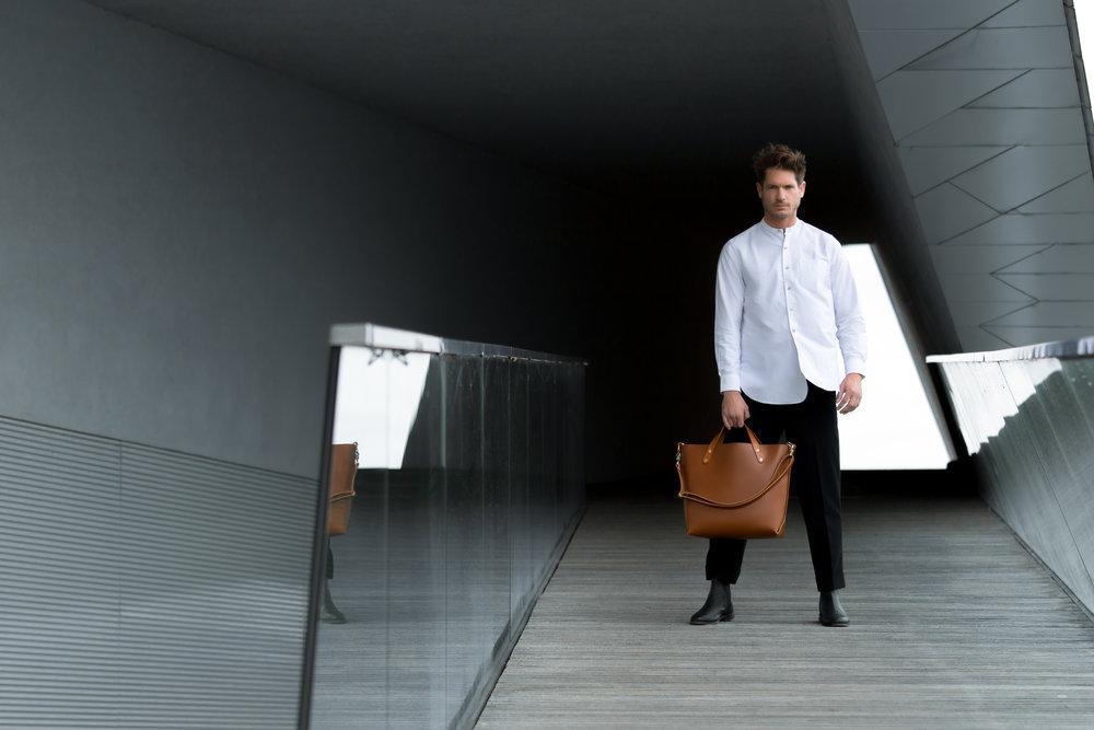 Bag: Dyemond Goods Leather bag // Shirt:  Bellerose Gowd 81  // Pants:  Bellerose Plano  //Footwear:  Grenson Declan