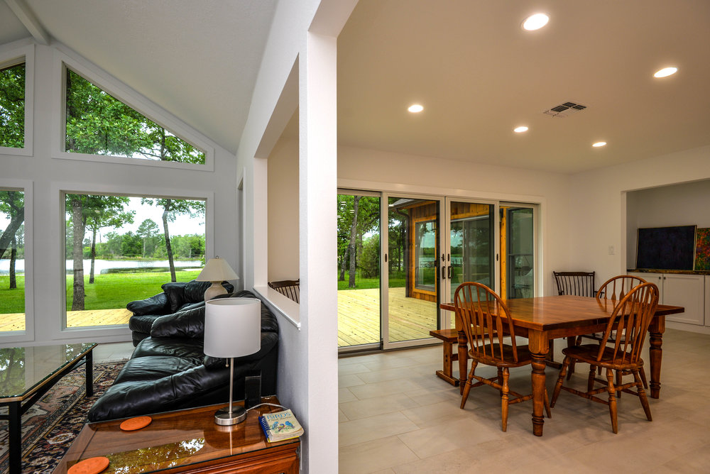 A home remodel in College Station, featuring plenty of windows to bring in natural light.