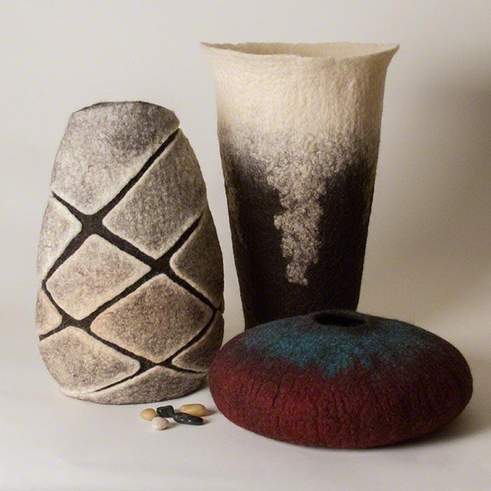 Wet Felted Wool Vessels