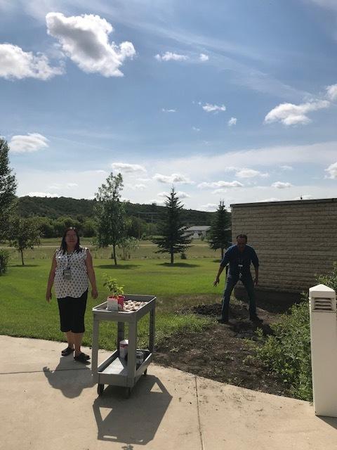 Planting of the Saskatoon Berry Tree and Rocks.
