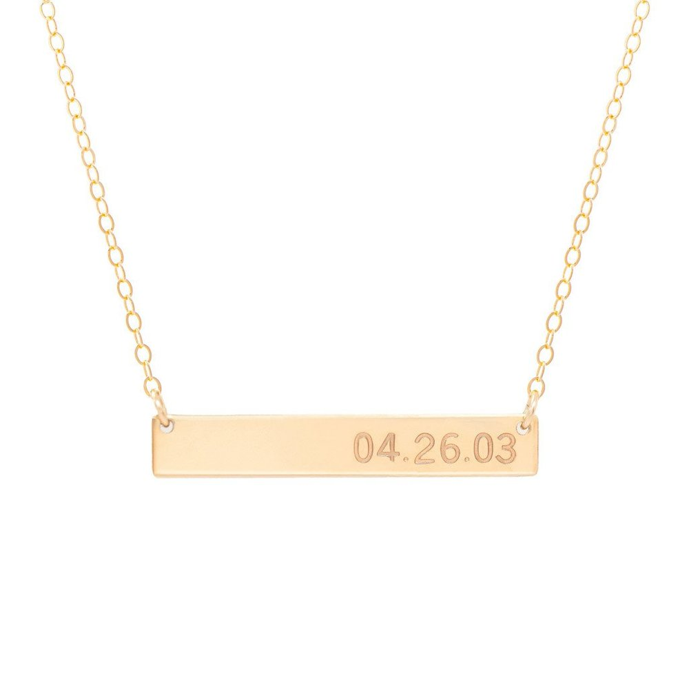 Bar necklace $50.00 This gift can be super sweet and personable and thats why I love it! If you feel like your girlfriend is super spoiled and has everything this would be a good gift (as long as she doesn't already have this too haha). I wear this every day along with my Tiffany necklace. It is such a sweet and super in style gift! You can personalize it how ever you want.. put her name, initials, your first initial and hers (for example my name is Brooke and my boyfriends is Nathan so it would be B&N), or my favorite and what is on mine is our anniversary (do it in numbers though example 4/26/2016). Its also a perfect gift if you wanna get her jewelry but Tiffany is a little out of your price range.   https://www.madebymary.com/collections/bar-necklaces