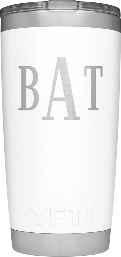 Custom yeti cup $30.00 Yeti cups in general are great but if you wanna make it a little more personalized a monogramed one is a great idea!  http://yeticustomshop.com/customize/rambler-tumbler-20oz-white