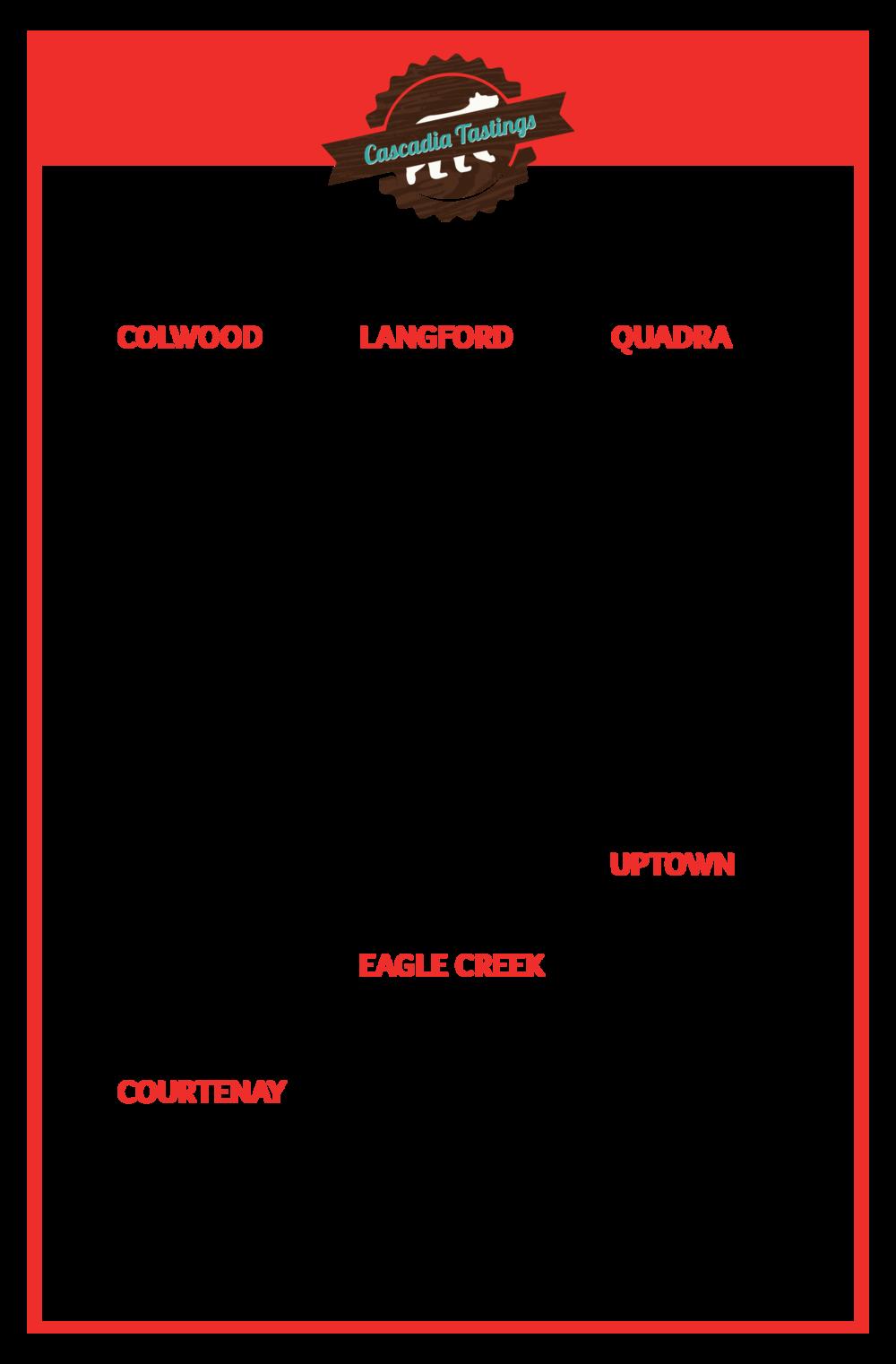 cascadia liquor, tastings, free tastings, wine, beer, liquor store, victoria bc, victoria liquor stores, colwood, westshore, comox, comox valley, uptown, eagle creek, langford, quadra village