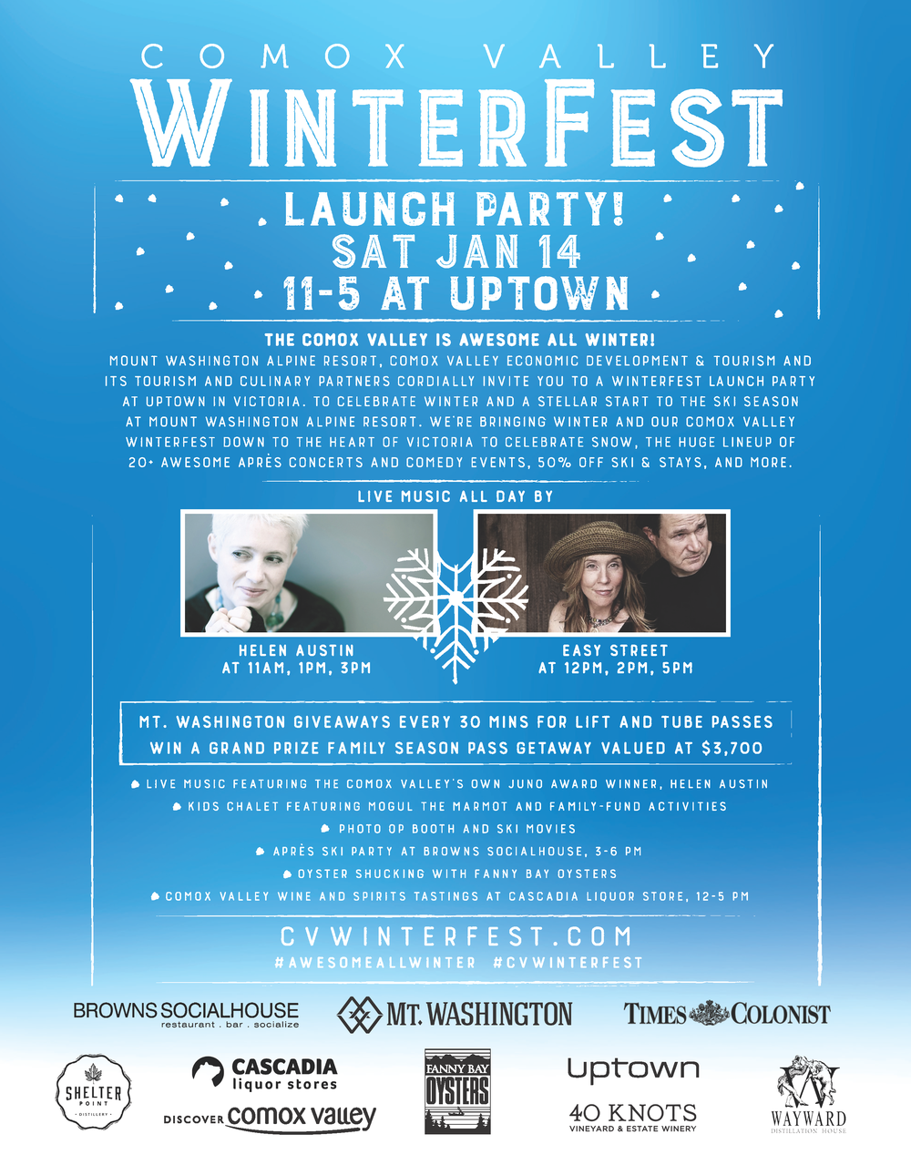 WinterFest Victoria Launch Party, Comox, Cascadia Liquor, Uptown Shopping, Comox Valley