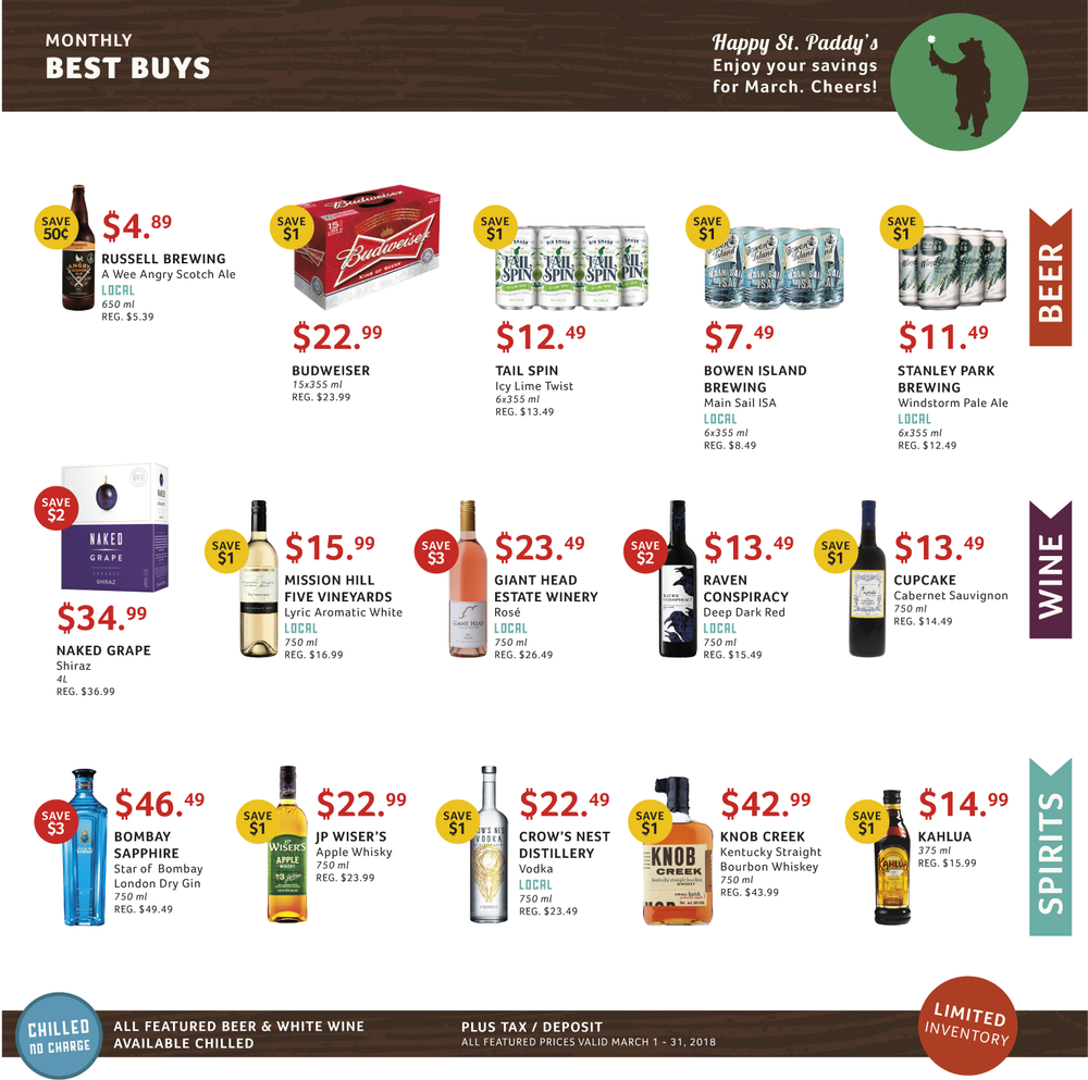 March 2018 Best Buys, Cascadia Liquor