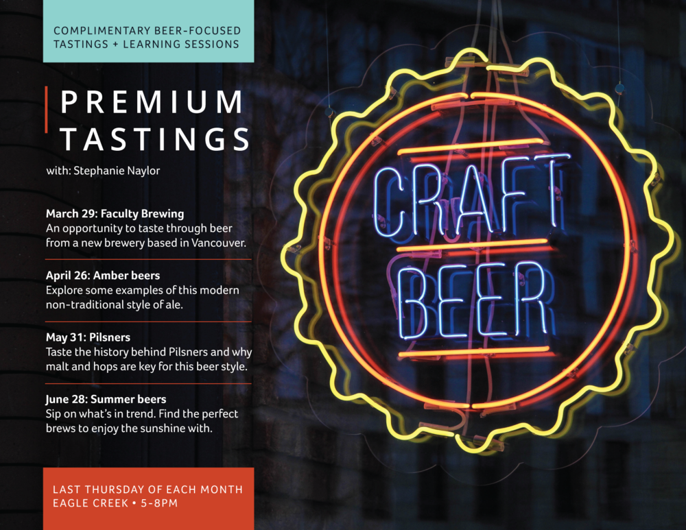 Premium Tastings, Eagle Creek, Craft Beer