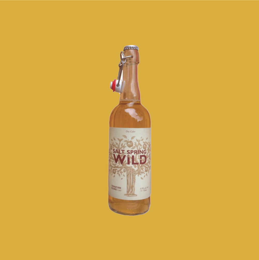 Salt Spring Wild Dry Cider - Blended from 10 different apple varieties for a deep and complex flavour. A great accompaniment to bold and smokey BBQ meats.$14.29, 750 ml