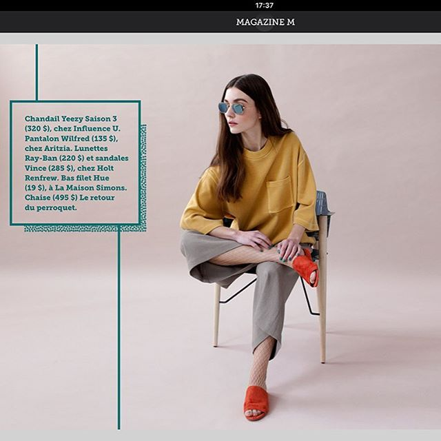 La Presse Plus shooting mode de l'édition du M printemps 2017. Our chair was shot for la presse plus.  Naomie Tremblay Photographe & DA www.naomie-photography.com @lp_lapresse @naomiet #fashion #montrealdesigner #montreal fashion #clothes #chair #design #confortable #steel