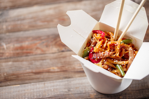 Asian food in take away container