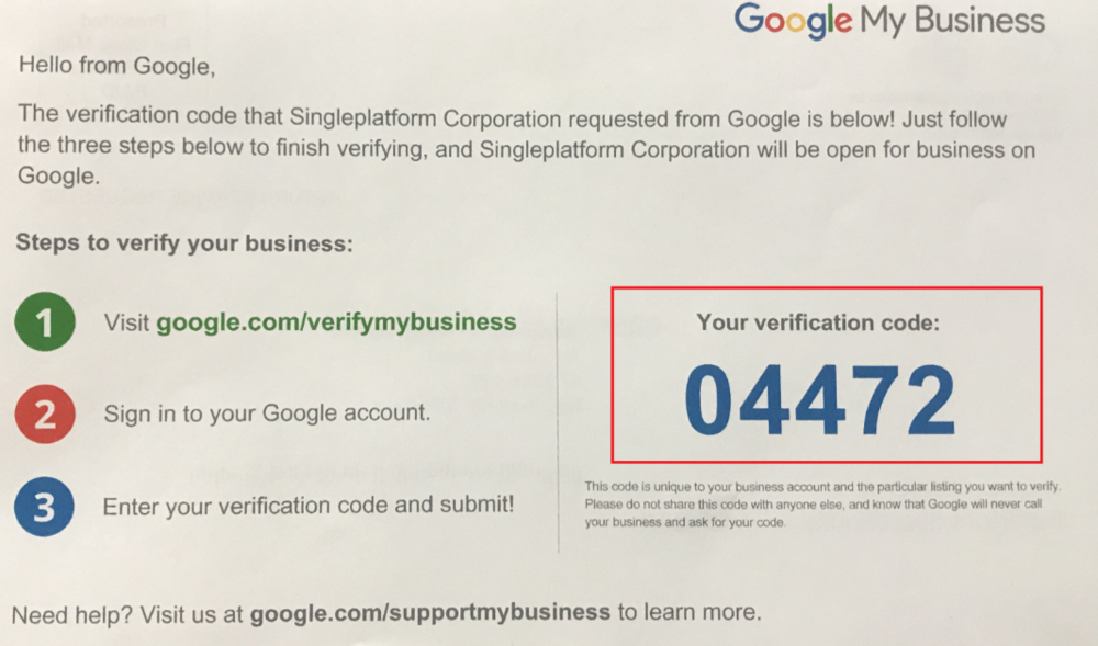 Exemple de courrier avec code de validation de compte Google My Business