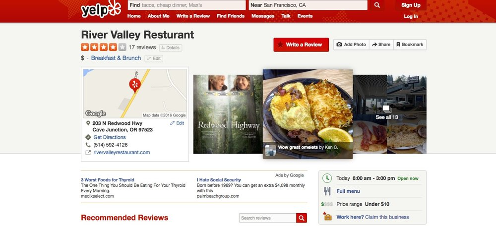 business page Yelp