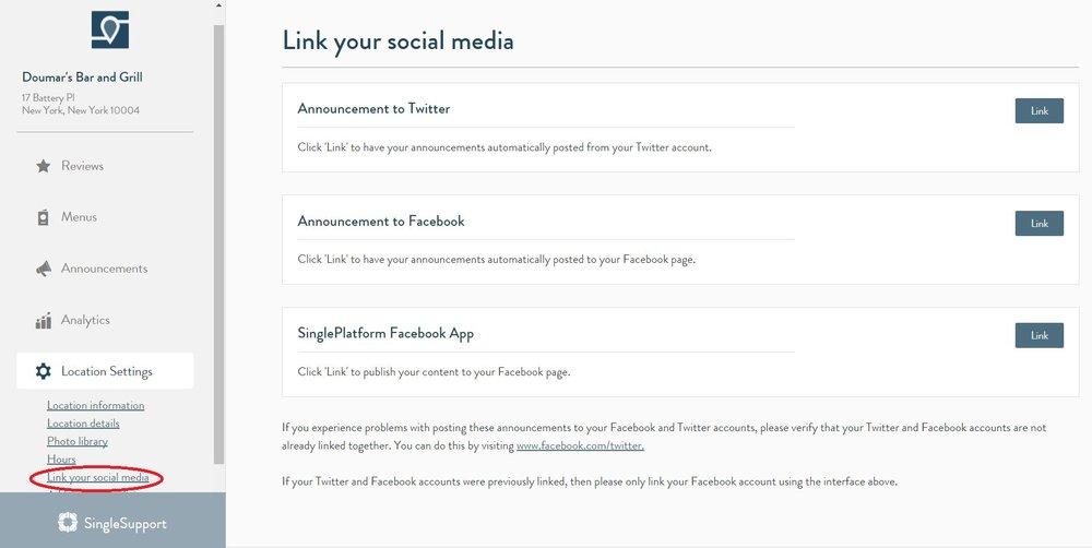 facebook menu