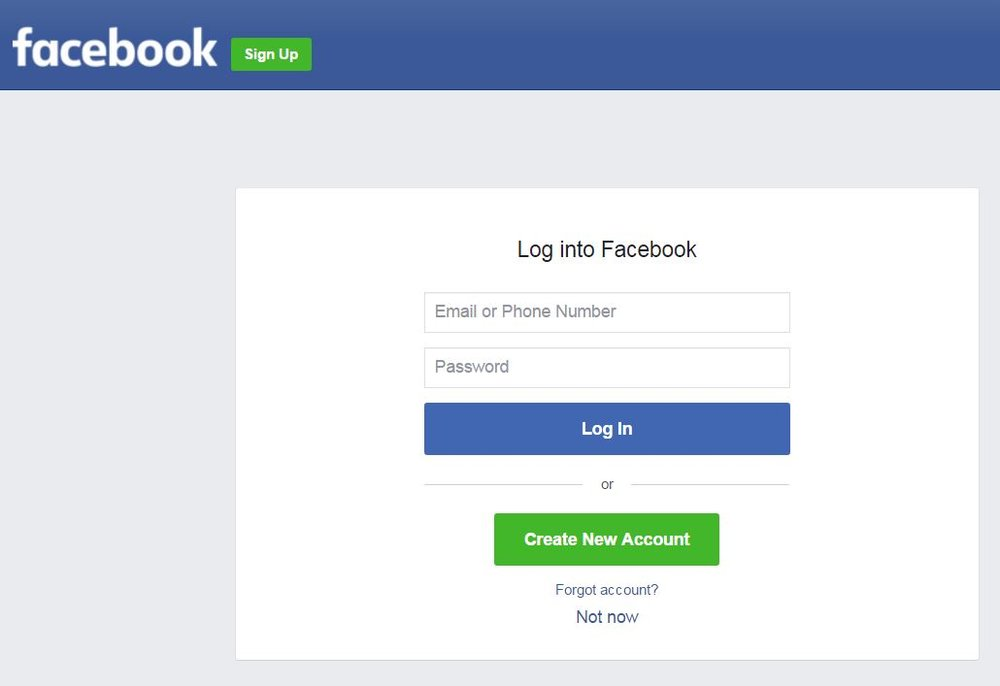 facebook menu login